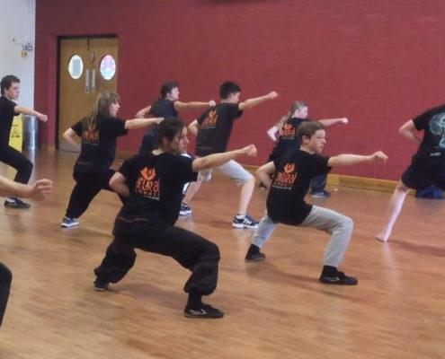 Kids kung fu at the Silver Band Hall